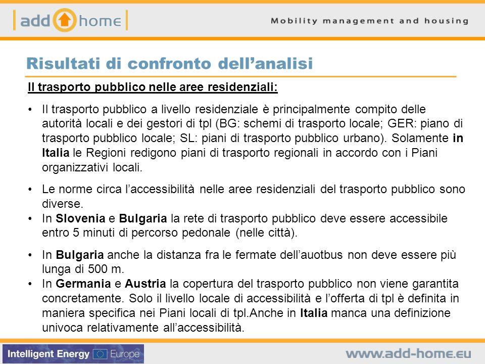 Risultati di confronto dellanalisi Il trasporto pubblico nelle aree residenziali: Il trasporto pubblico a livello residenziale è principalmente compit