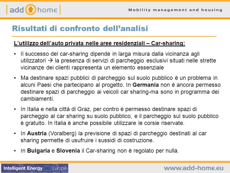 Lutilizzo dellauto privata nelle aree residenziali – Car-sharing: Il successo del car-sharing dipende in larga misura dalla vicinanza agli utilizzator