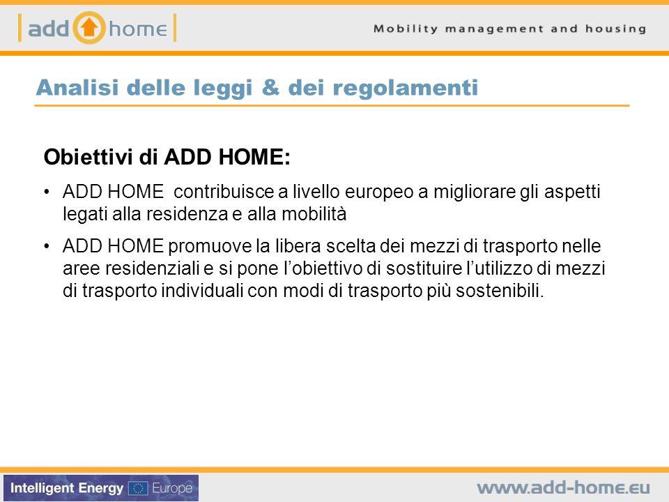 Obiettivi di ADD HOME: ADD HOME contribuisce a livello europeo a migliorare gli aspetti legati alla residenza e alla mobilità ADD HOME promuove la libera scelta dei mezzi di trasporto nelle aree residenziali e si pone lobiettivo di sostituire lutilizzo di mezzi di trasporto individuali con modi di trasporto più sostenibili.