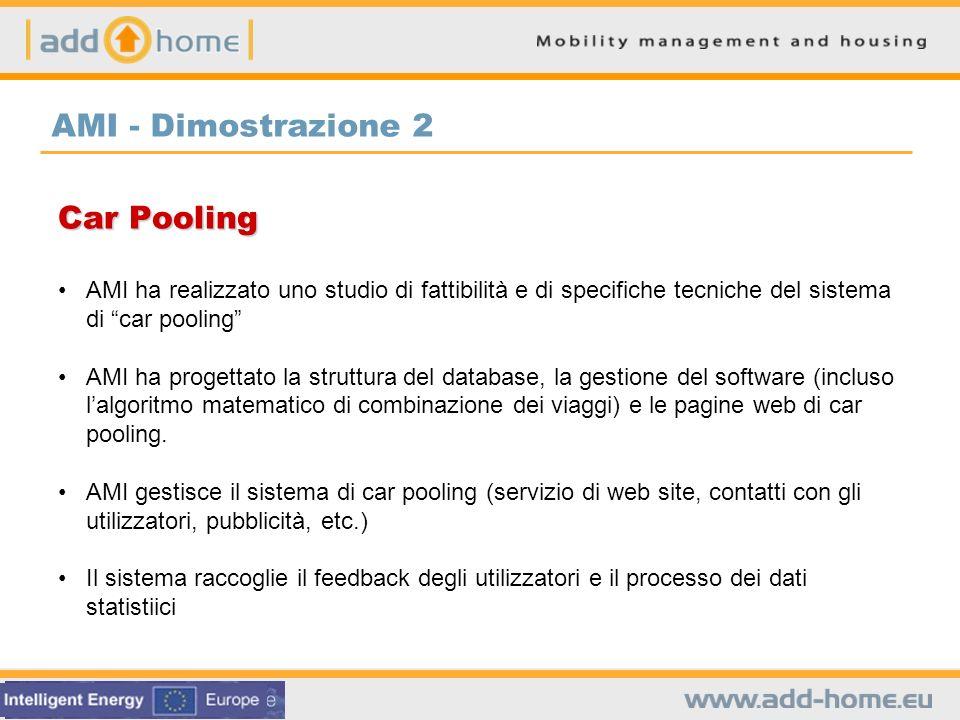 Car Pooling AMI ha realizzato uno studio di fattibilità e di specifiche tecniche del sistema di car pooling AMI ha progettato la struttura del databas