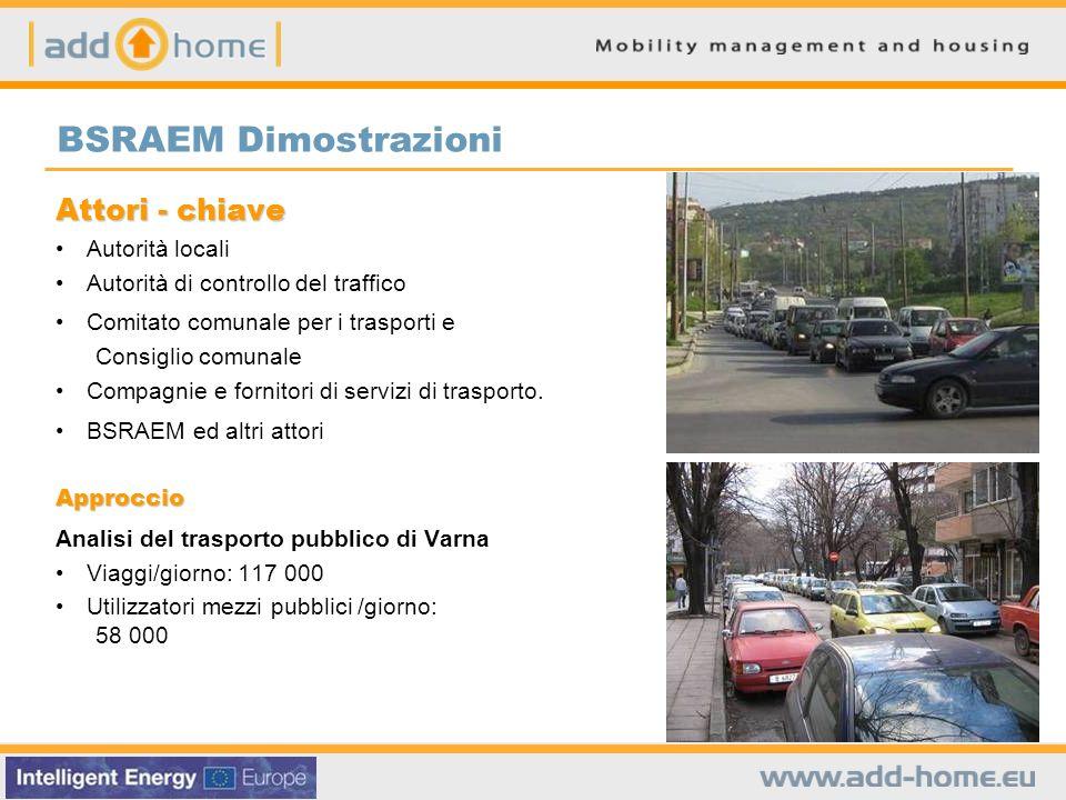 BSRAEM Dimostrazioni Attori - chiave Autorità locali Autorità di controllo del traffico Comitato comunale per i trasporti e Consiglio comunale Compagn