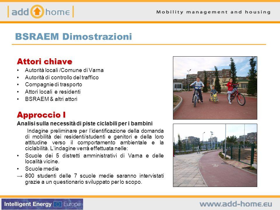 BSRAEM Dimostrazioni Attori chiave Autorità locali /Comune di Varna Autorità di controllo del traffico Compagnie di trasporto Attori locali e resident