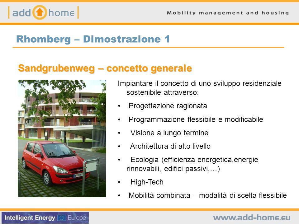 Rhomberg – Dimostrazione 1 Sandgrubenweg – concetto generale Impiantare il concetto di uno sviluppo residenziale sostenibile attraverso: Progettazione