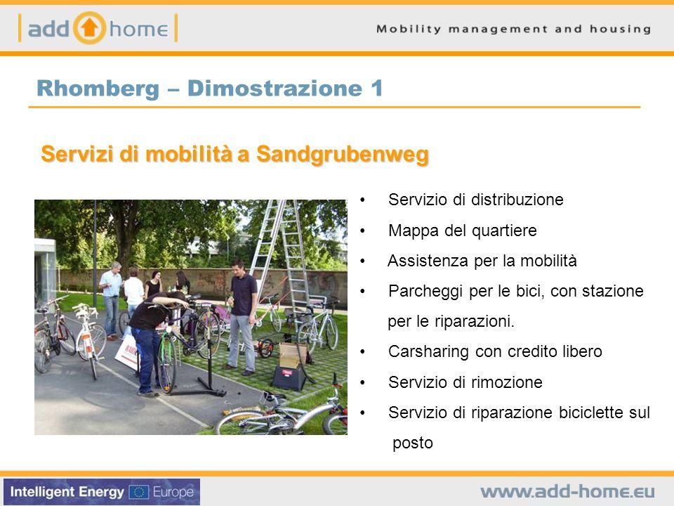 Rhomberg – Dimostrazione 1 Servizi di mobilità a Sandgrubenweg Servizio di distribuzione Mappa del quartiere Assistenza per la mobilità Parcheggi per