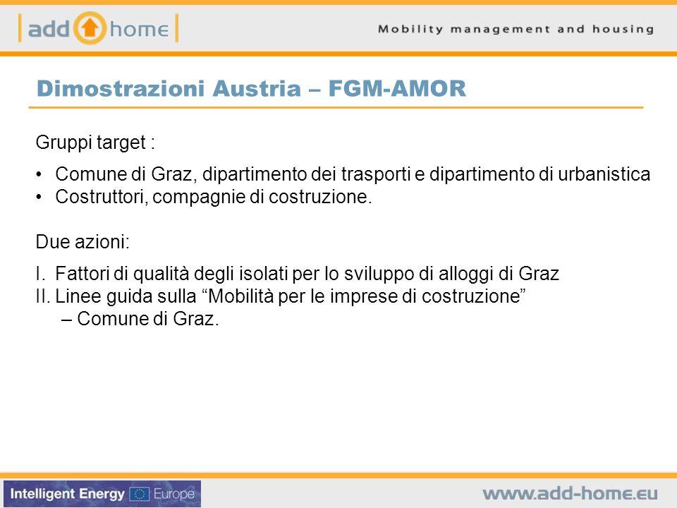Gruppi target : Comune di Graz, dipartimento dei trasporti e dipartimento di urbanistica Costruttori, compagnie di costruzione. Due azioni: I.Fattori