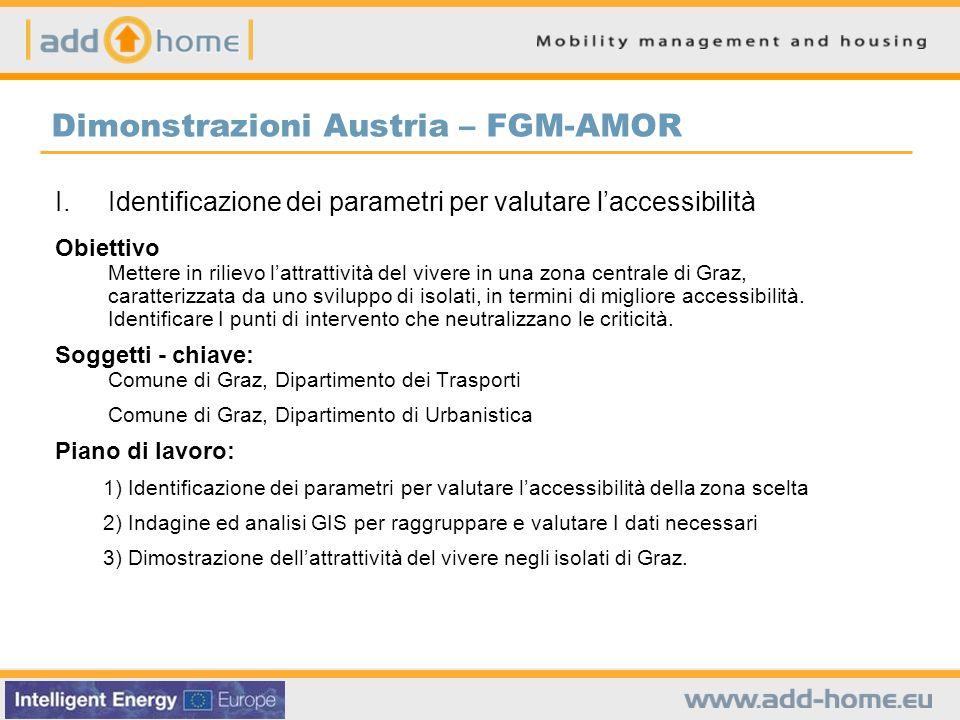 Dimonstrazioni Austria – FGM-AMOR I.Identificazione dei parametri per valutare laccessibilità Obiettivo Mettere in rilievo lattrattività del vivere in