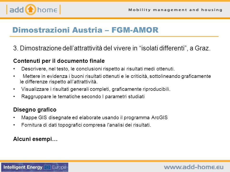 Dimostrazioni Austria – FGM-AMOR 3.Dimostrazione dellattrattività del vivere in isolati differenti, a Graz. Contenuti per il documento finale Descrive