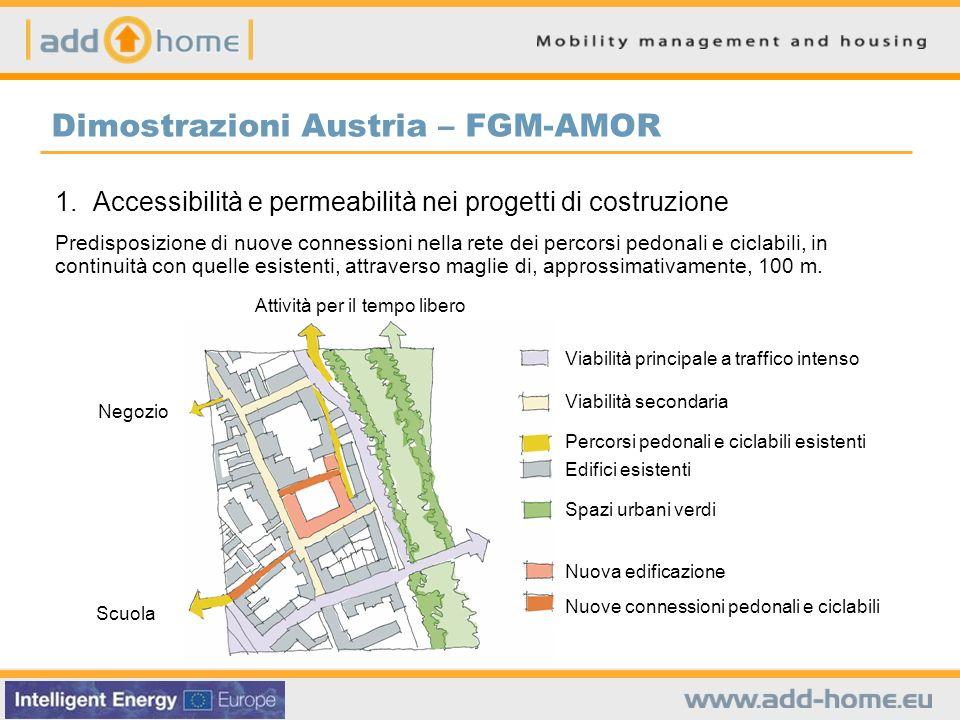 Dimostrazioni Austria – FGM-AMOR 1. Accessibilità e permeabilità nei progetti di costruzione Predisposizione di nuove connessioni nella rete dei perco
