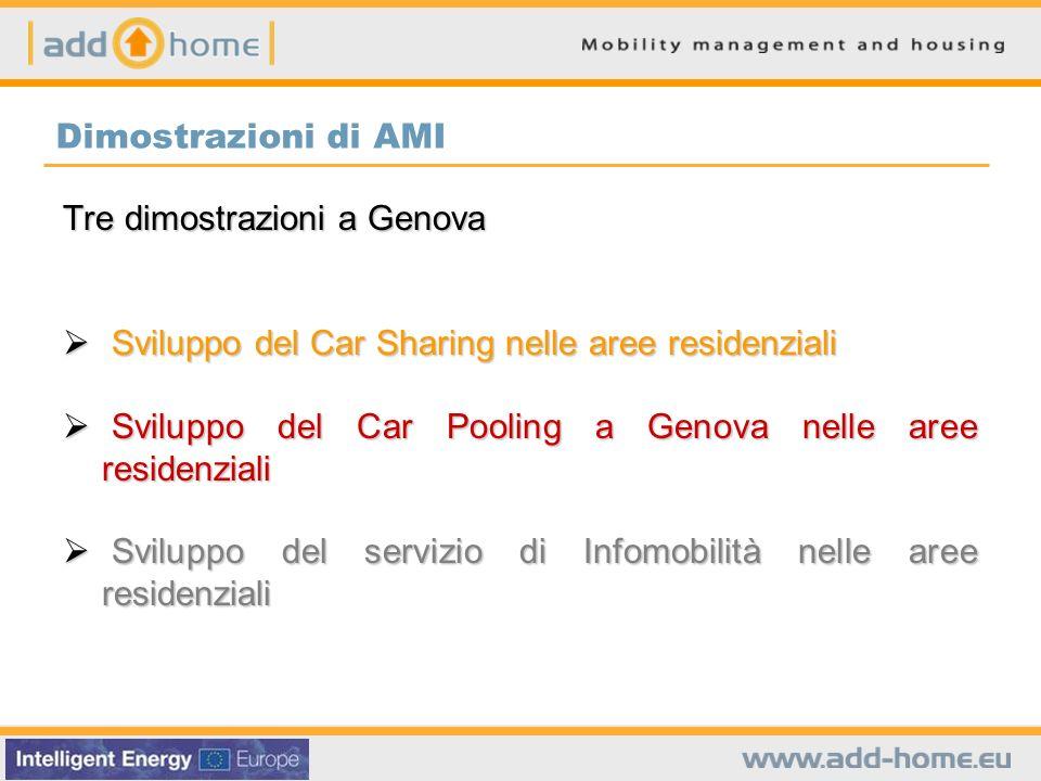 Dimostrazioni di AMI Tre dimostrazioni a Genova Sviluppo del Car Sharing nelle aree residenziali Sviluppo del Car Sharing nelle aree residenziali Svil