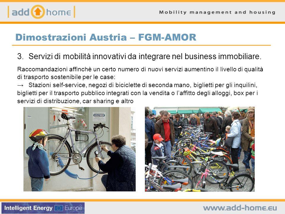 Dimostrazioni Austria – FGM-AMOR 3. Servizi di mobilità innovativi da integrare nel business immobiliare. Raccomandazioni affinchè un certo numero di