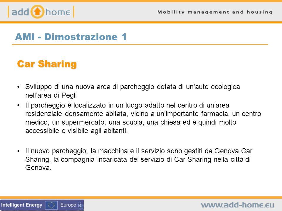 AMI - Dimostrazione 1 Car Sharing Sviluppo di una nuova area di parcheggio dotata di unauto ecologica nellarea di Pegli Il parcheggio è localizzato in