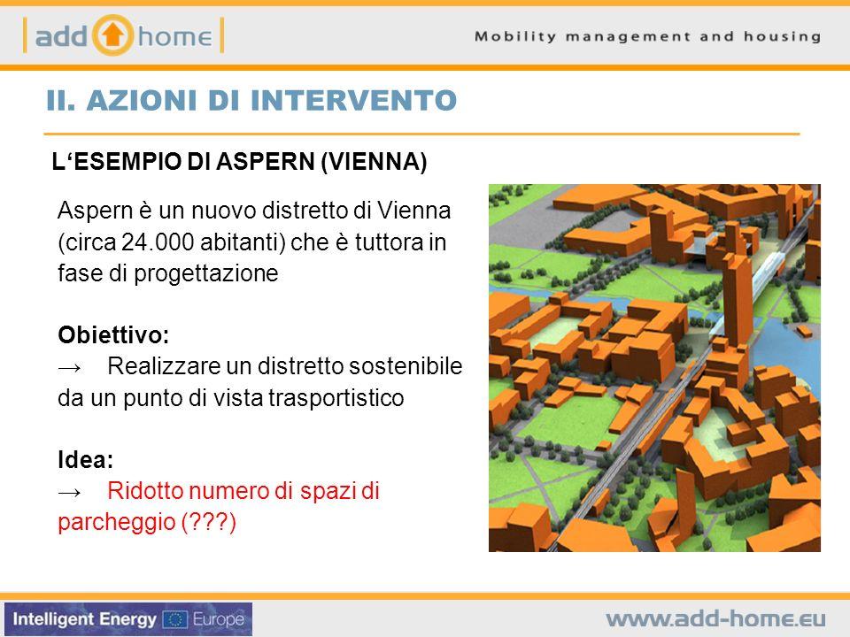 LESEMPIO DI ASPERN (VIENNA) Aspern è un nuovo distretto di Vienna (circa 24.000 abitanti) che è tuttora in fase di progettazione Obiettivo: Realizzare un distretto sostenibile da un punto di vista trasportistico Idea: Ridotto numero di spazi di parcheggio ( ) II.