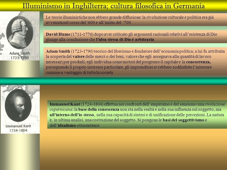 Illuminismo in Inghilterra; cultura filosofica in Germania Le teorie illuministiche non ebbero grande diffusione: la rivoluzione culturale e politica