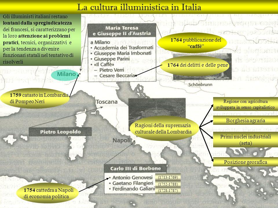 Gli illuministi italiani restano lontani dalla spregiudicatezza dei francesi, si caratterizzano per la loro attenzione ai problemi pratici, tecnici, o