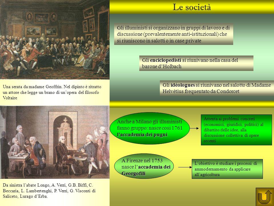 Le società Gli illuministi si organizzano in gruppi di lavoro e di discussione (prevalentemente anti-istituzionali) che si riuniscono in salotti o in