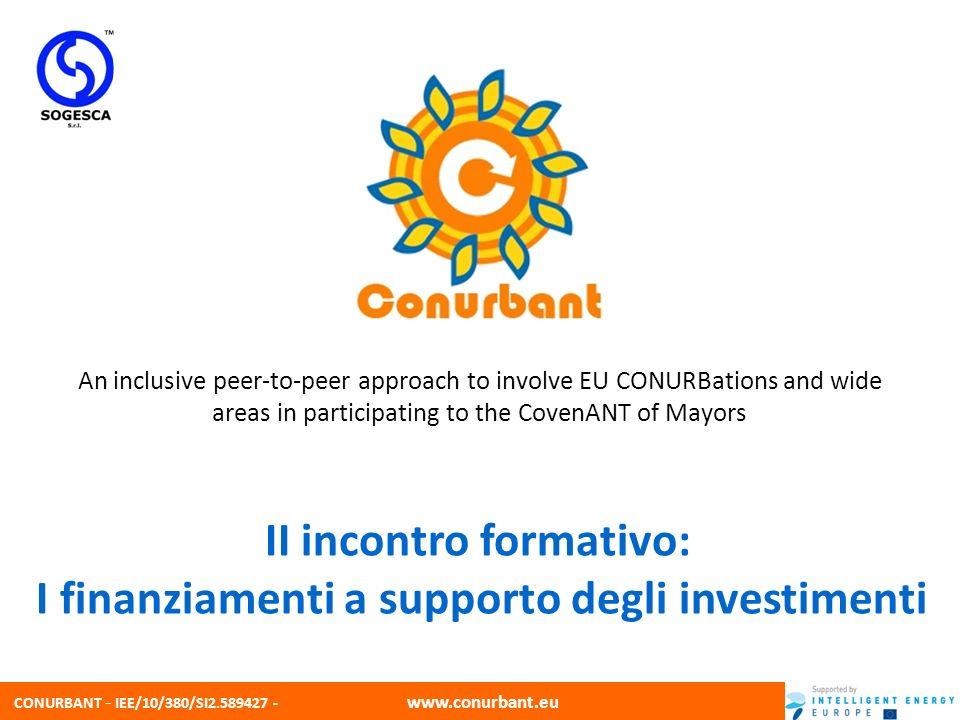 CONURBANT - IEE/10/380/SI2.589427 - www.conurbant.eu 2 Sogesca srl La Sogesca é una società di consulenza operativa da 25 anni nei settori dellambiente, della sicurezza, della qualità e dellefficienza energetica.