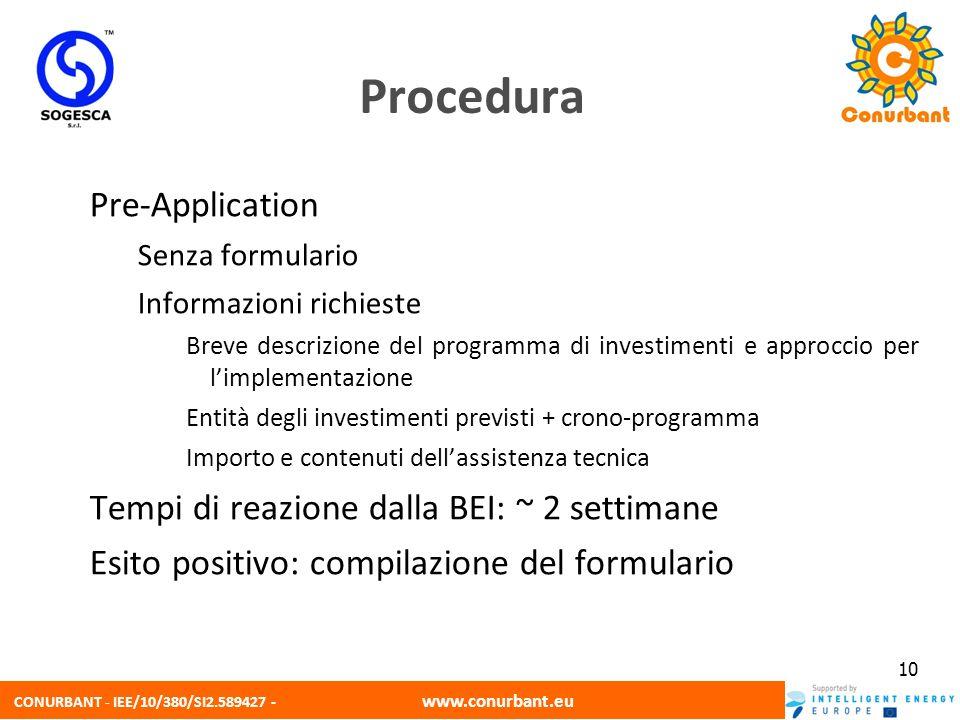CONURBANT - IEE/10/380/SI2.589427 - www.conurbant.eu 10 Pre-Application Senza formulario Informazioni richieste Breve descrizione del programma di inv
