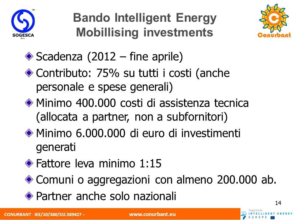CONURBANT - IEE/10/380/SI2.589427 - www.conurbant.eu 14 Bando Intelligent Energy Mobillising investments Scadenza (2012 – fine aprile) Contributo: 75%