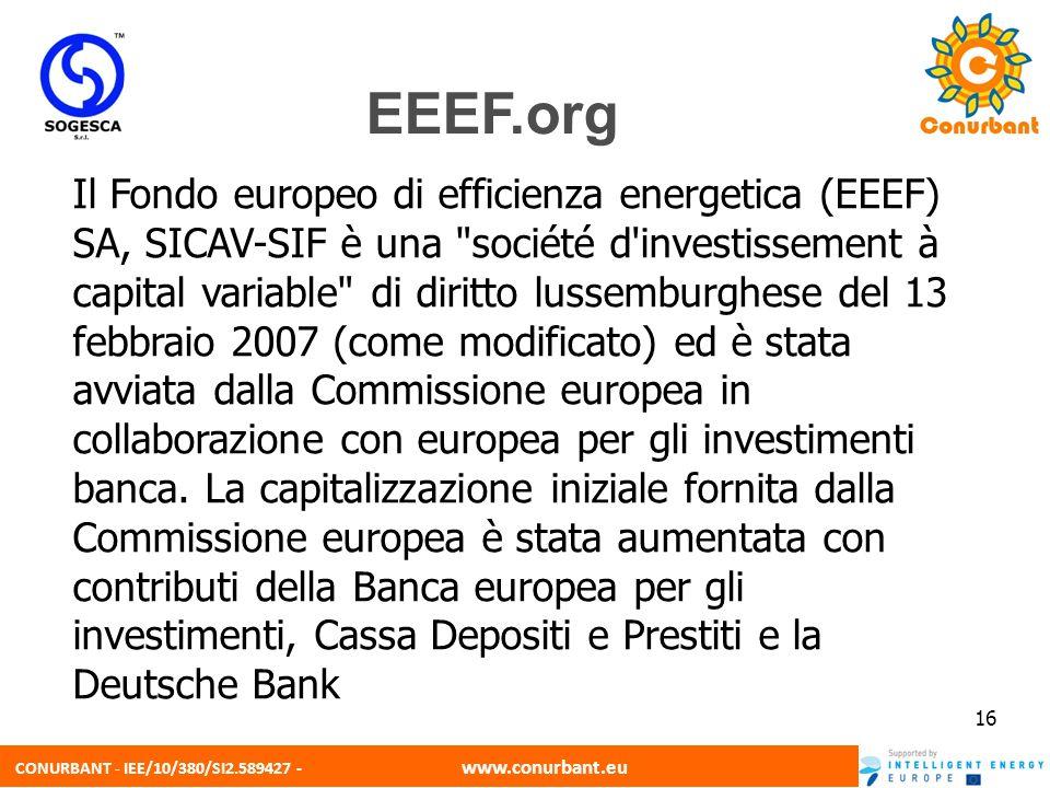 CONURBANT - IEE/10/380/SI2.589427 - www.conurbant.eu 16 Il Fondo europeo di efficienza energetica (EEEF) SA, SICAV-SIF è una