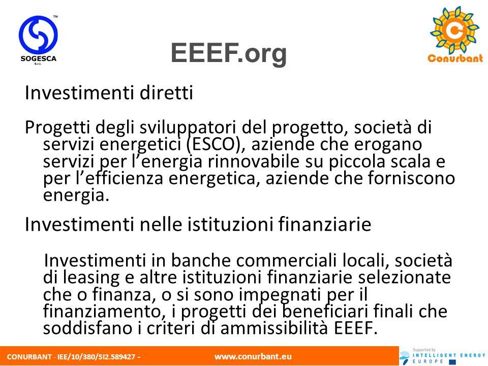 CONURBANT - IEE/10/380/SI2.589427 - www.conurbant.eu Investimenti diretti Progetti degli sviluppatori del progetto, società di servizi energetici (ESC