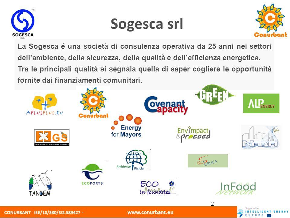 CONURBANT - IEE/10/380/SI2.589427 - www.conurbant.eu 2 Sogesca srl La Sogesca é una società di consulenza operativa da 25 anni nei settori dellambient