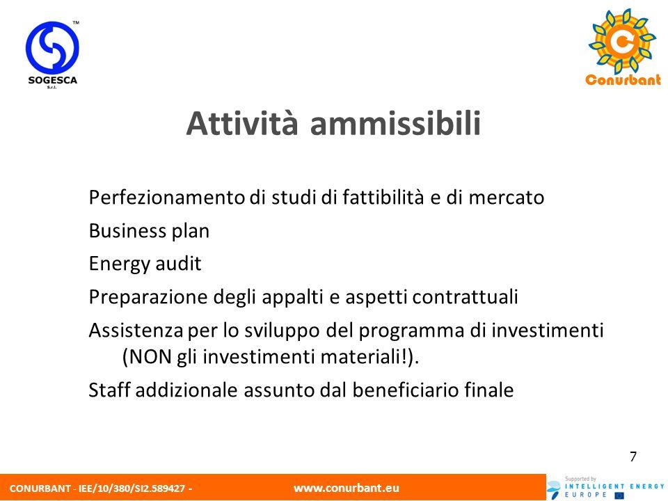 CONURBANT - IEE/10/380/SI2.589427 - www.conurbant.eu 7 Perfezionamento di studi di fattibilità e di mercato Business plan Energy audit Preparazione de