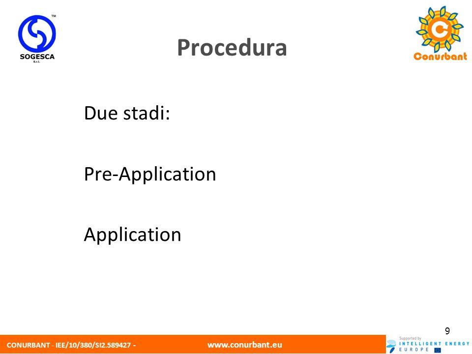 CONURBANT - IEE/10/380/SI2.589427 - www.conurbant.eu 10 Pre-Application Senza formulario Informazioni richieste Breve descrizione del programma di investimenti e approccio per limplementazione Entità degli investimenti previsti + crono-programma Importo e contenuti dellassistenza tecnica Tempi di reazione dalla BEI: ~ 2 settimane Esito positivo: compilazione del formulario Procedura
