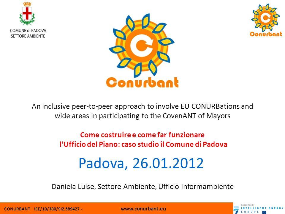 CONURBANT - IEE/10/380/SI2.589427 - www.conurbant.eu Settore Ambiente - Comune di Padova Ufficio Agenda 21 via dei salici, 35 35125 Padova Tel 049 8022488 - Fax.