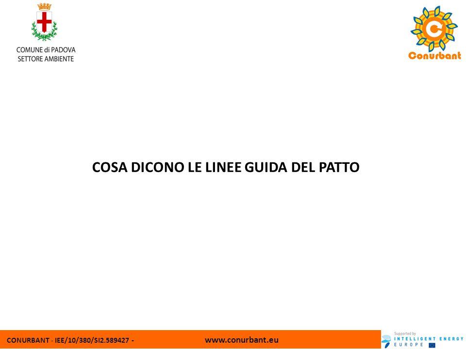 CONURBANT - IEE/10/380/SI2.589427 - www.conurbant.eu COSA DICONO LE LINEE GUIDA DEL PATTO