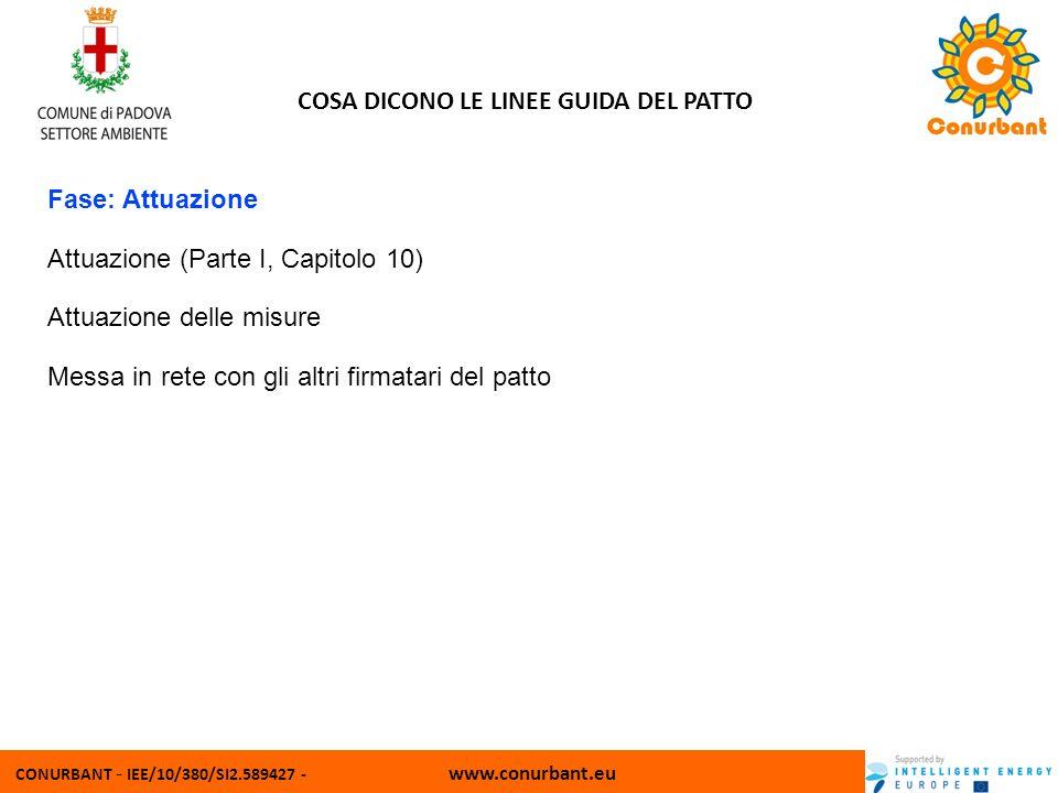 CONURBANT - IEE/10/380/SI2.589427 - www.conurbant.eu COSA DICONO LE LINEE GUIDA DEL PATTO Fase: Attuazione Attuazione (Parte I, Capitolo 10) Attuazione delle misure Messa in rete con gli altri firmatari del patto
