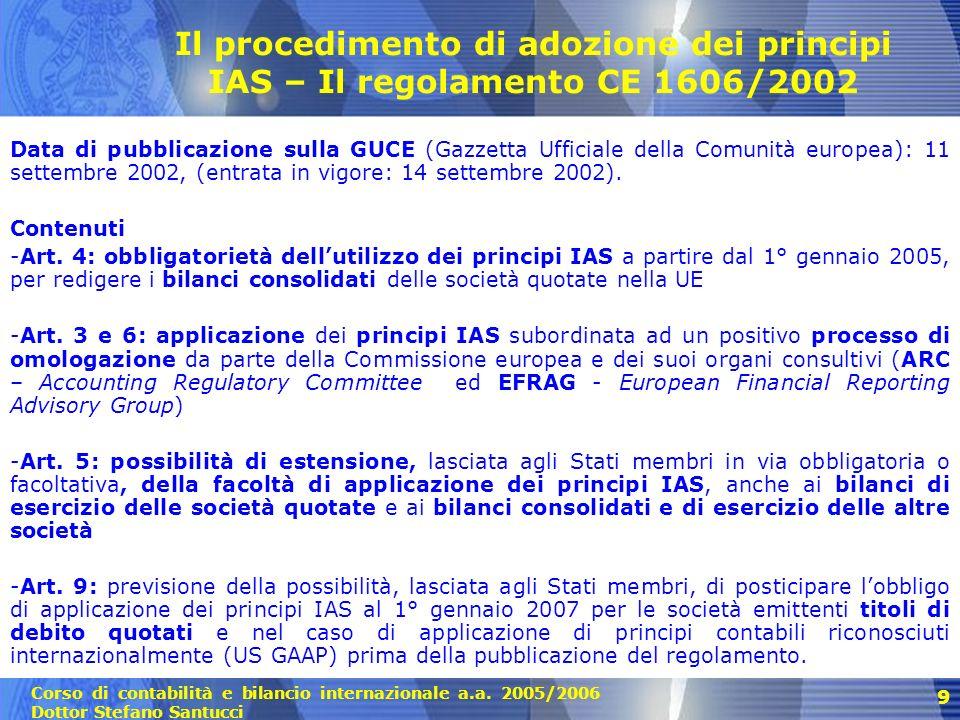 Corso di contabilità e bilancio internazionale a.a.