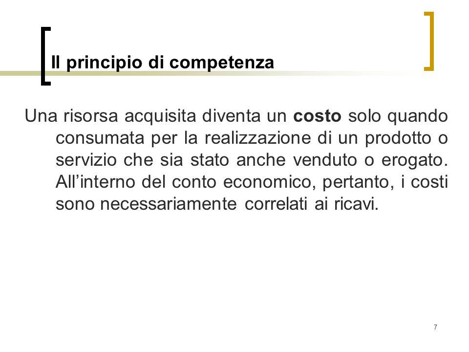 7 Il principio di competenza Una risorsa acquisita diventa un costo solo quando consumata per la realizzazione di un prodotto o servizio che sia stato