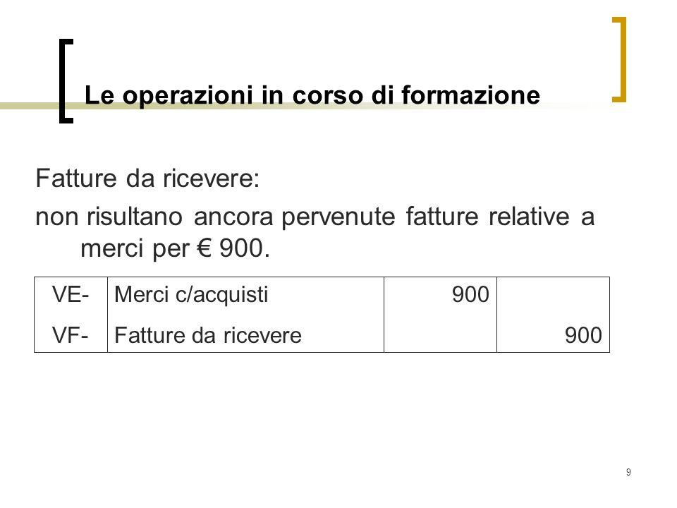 9 Le operazioni in corso di formazione Fatture da ricevere: non risultano ancora pervenute fatture relative a merci per 900. Merci c/acquisti Fatture