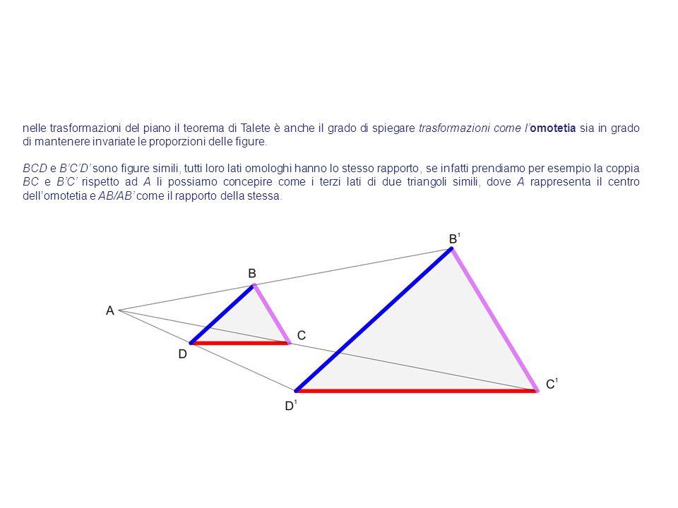 nelle trasformazioni del piano il teorema di Talete è anche il grado di spiegare trasformazioni come lomotetia sia in grado di mantenere invariate le