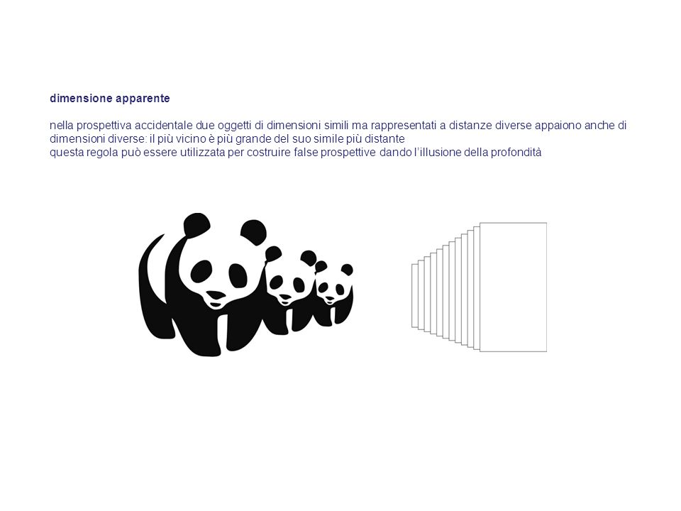 dimensione apparente nella prospettiva accidentale due oggetti di dimensioni simili ma rappresentati a distanze diverse appaiono anche di dimensioni d