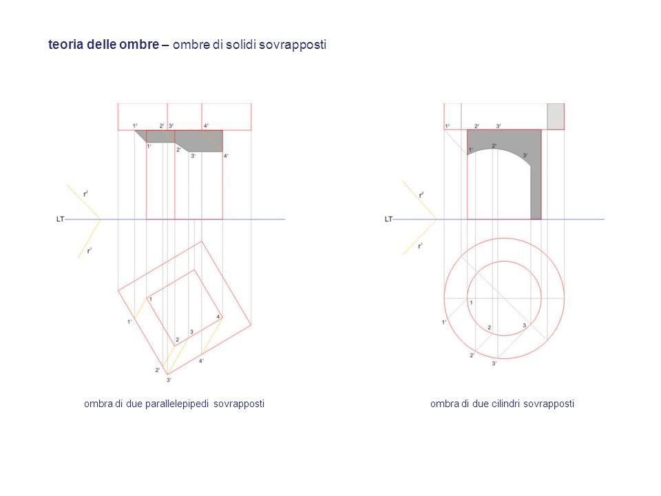 teoria delle ombre – ombre di solidi sovrapposti ombra di due parallelepipedi sovrappostiombra di due cilindri sovrapposti
