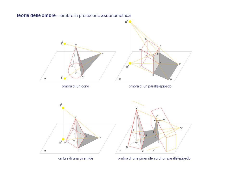 teoria delle ombre – ombre in proiezione assonometrica ombra di un conoombra di un parallelepipedo ombra di una piramideombra di una piramide su di un