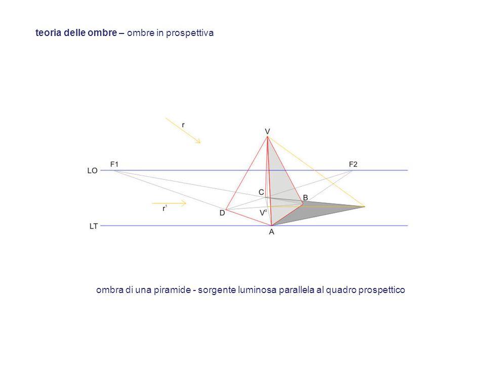 teoria delle ombre – ombre in prospettiva ombra di una piramide - sorgente luminosa parallela al quadro prospettico