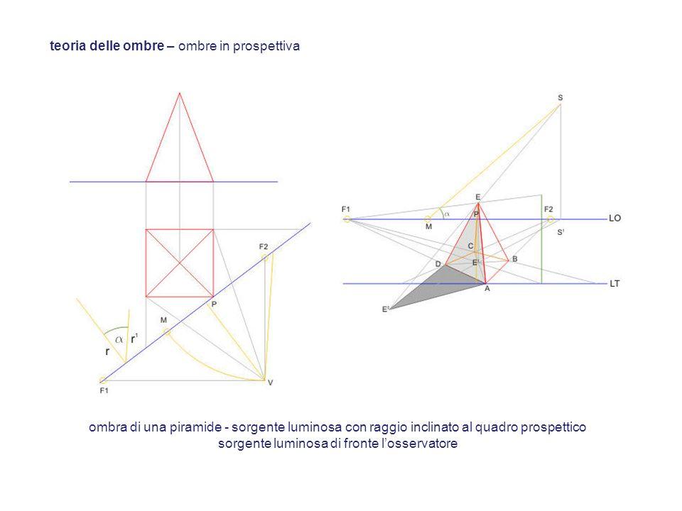 teoria delle ombre – ombre in prospettiva ombra di una piramide - sorgente luminosa con raggio inclinato al quadro prospettico sorgente luminosa di fr