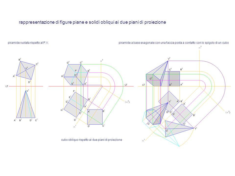 rappresentazione di figure piane e solidi obliqui ai due piani di proiezione piramide ruotata rispetto al P.V. cubo obliquo rispetto ai due piani di p