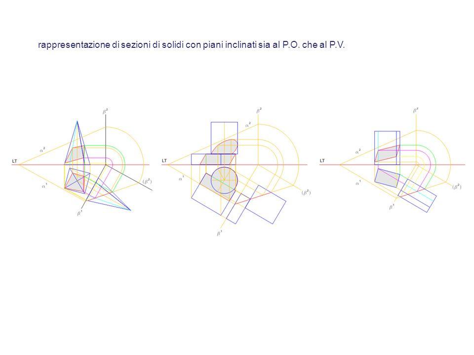 rappresentazione di sezioni di solidi con piani inclinati sia al P.O. che al P.V.
