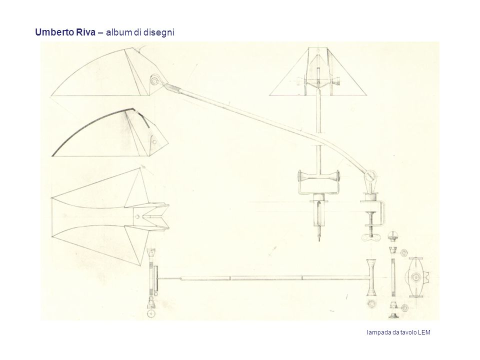 Umberto Riva – album di disegni lampada da tavolo LEM
