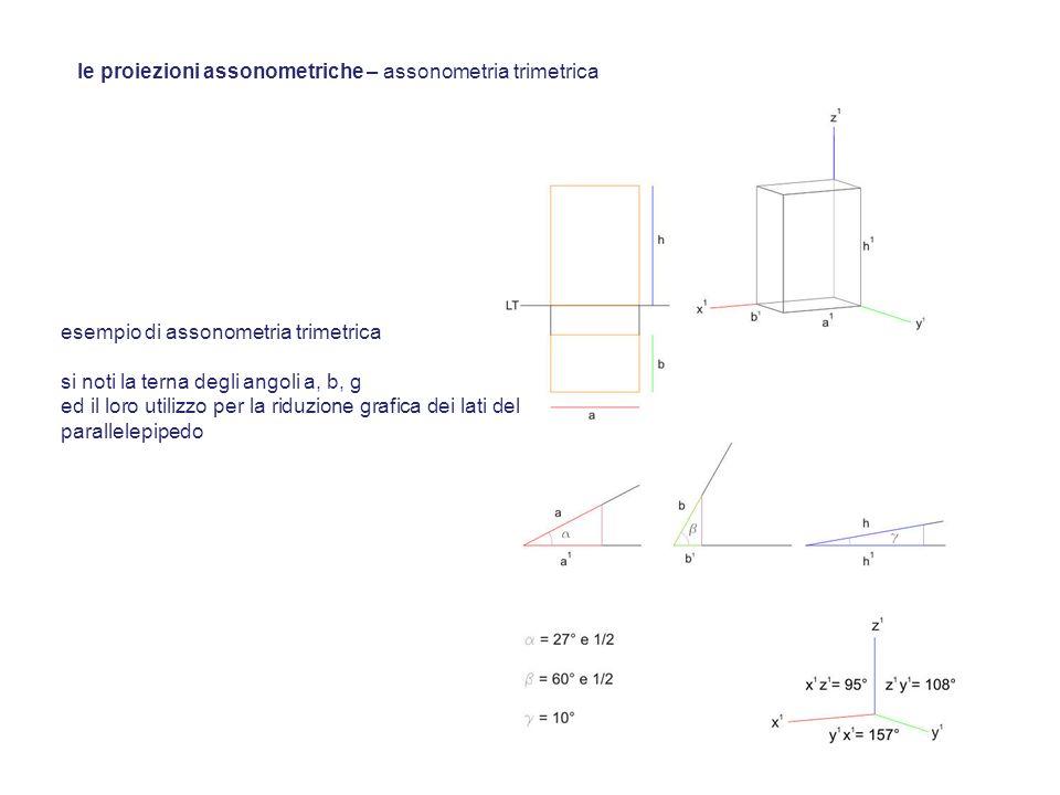 esempio di assonometria trimetrica si noti la terna degli angoli a, b, g ed il loro utilizzo per la riduzione grafica dei lati del parallelepipedo le