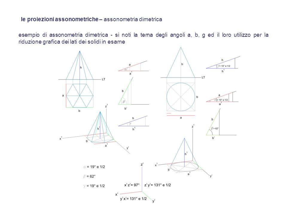 esempio di assonometria dimetrica - si noti la terna degli angoli a, b, g ed il loro utilizzo per la riduzione grafica dei lati dei solidi in esame le