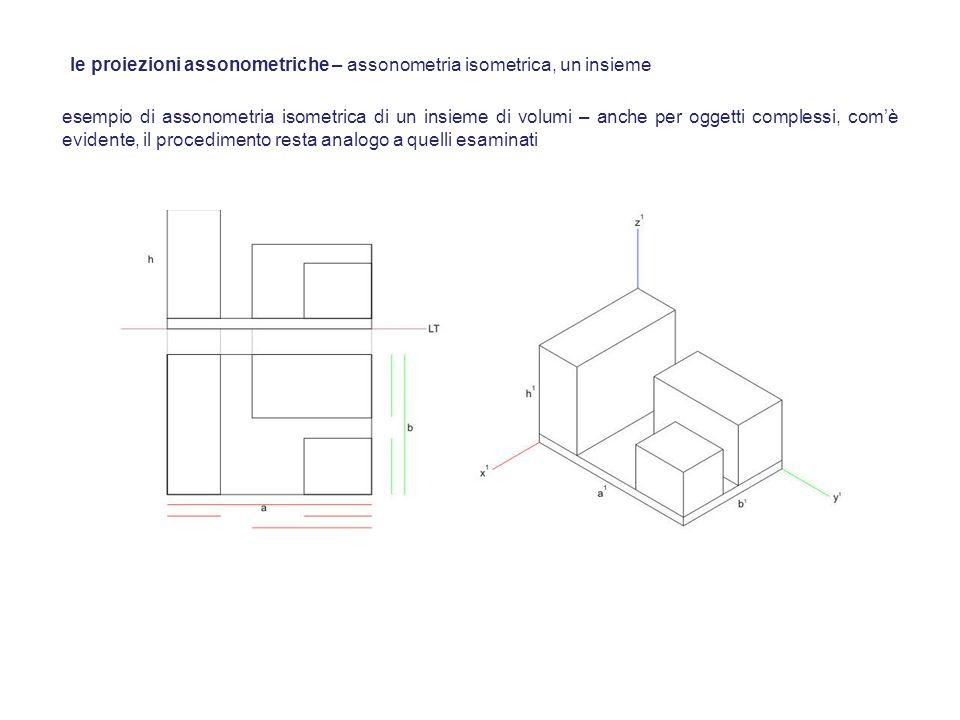 esempio di assonometria isometrica di un insieme di volumi – anche per oggetti complessi, comè evidente, il procedimento resta analogo a quelli esamin