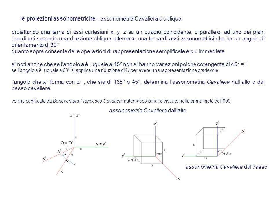 proiettando una terna di assi cartesiani x, y, z su un quadro coincidente, o parallelo, ad uno dei piani coordinati secondo una direzione obliqua otte