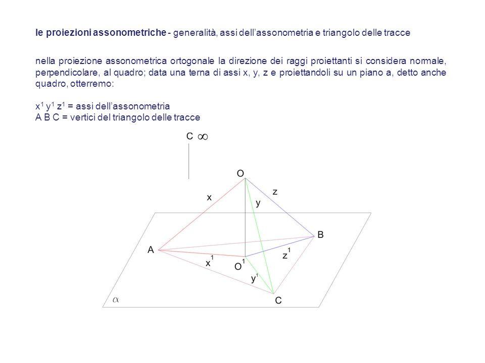 nel triangolo delle tracce le altezze sono le proiezioni degli assi x, y, z di conseguenza lorigine degli assi assonometrici O 1 è il suo ortocentro il triangolo A B C è acutangolo le sue altezze, e quindi gli assi x 1 y 1 z 1, formano angoli ottusi le proiezioni assonometriche - generalità, assi dellassonometria e triangolo delle tracce