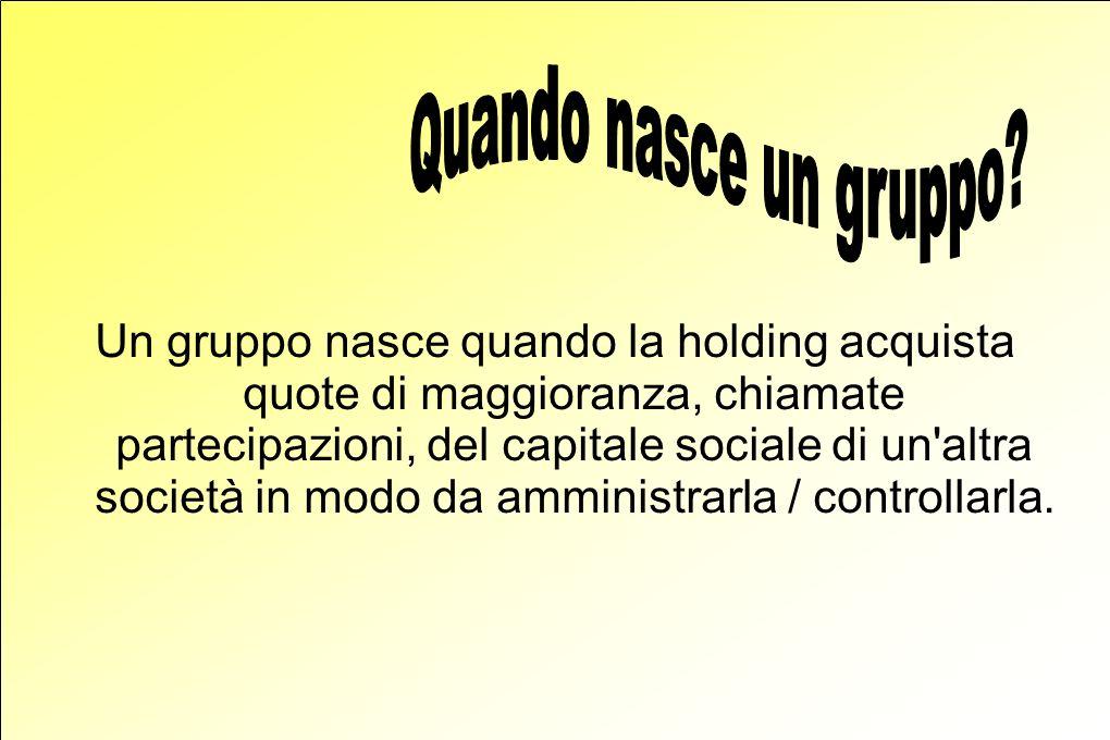 Un gruppo nasce quando la holding acquista quote di maggioranza, chiamate partecipazioni, del capitale sociale di un altra società in modo da amministrarla / controllarla.
