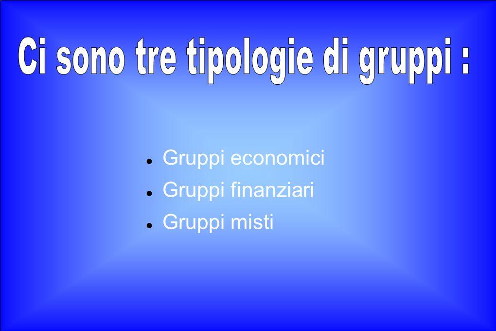 Gruppi economici Gruppi finanziari Gruppi misti