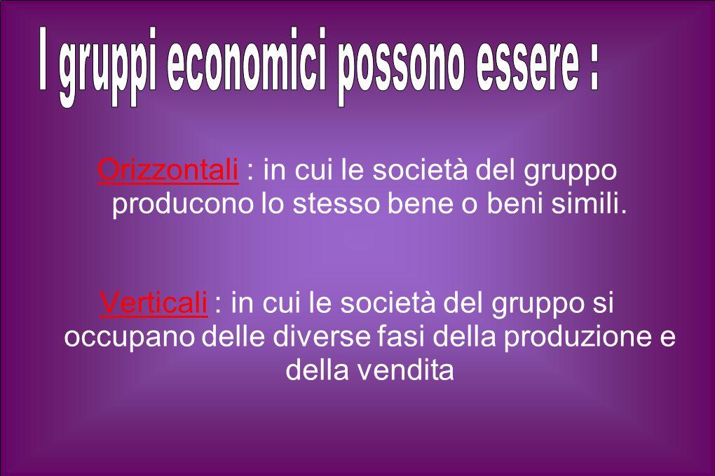 Orizzontali : in cui le società del gruppo producono lo stesso bene o beni simili.
